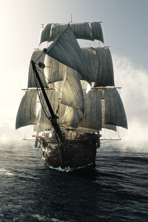 Front view of a pirate ship vessel piercing through the fog headed toward the camera . 3d rendering Stockfoto
