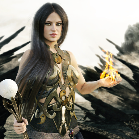Fantasy wizard female with flames coming from her hands and a mythical skull island in the background. 3d rendering Stock Photo