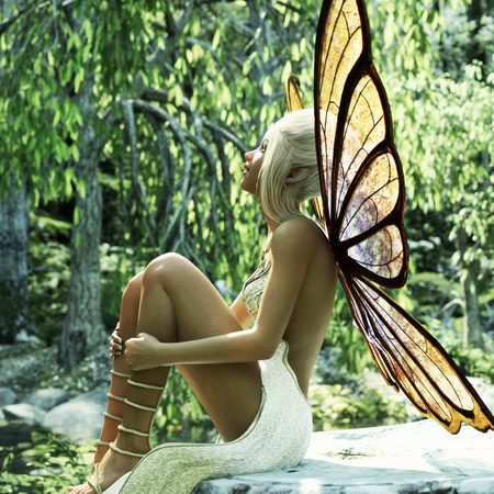 A little elven fairy sitting on a stump enjoying the early morning suns rays. 3d rendering
