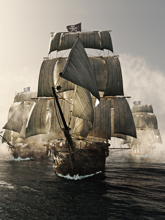 Front view of a pirate ship fleet piercing through the fog. 3d rendering