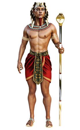 esfinge: Retrato de un varón egipcio que desgasta el equipo tradicional en una representación blanca aislada de background.3d