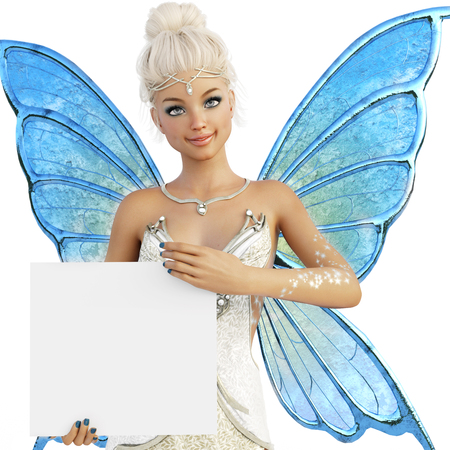 Cute Fairy holding a blank sign with room for text or copy space advertisement. 3d rendering on an isolated white background.