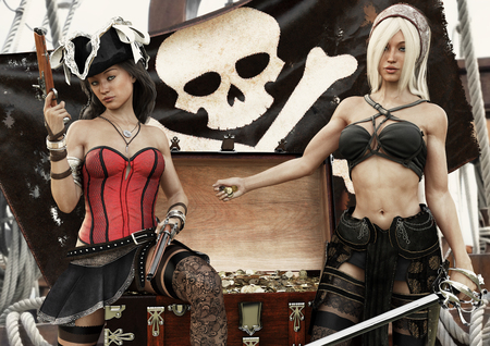 Pirate plunder. Two pirate females showing off there looted treasure of gold coins. 3d rendering.