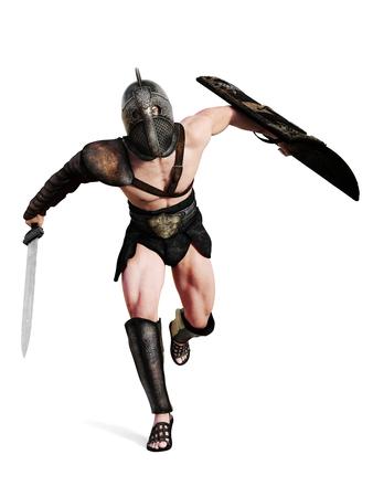 Gladiator läuft in Schlacht auf einem isolierten weißen Hintergrund 3D-Rendering Lizenzfreie Bilder