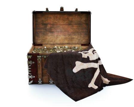 Piratengold Eine alte Holzpiratenkiste mit einer Fahne drapiert und mit Goldmünzen gefüllt. Isoliert auf weißem Hintergrund. 3D-Rendering