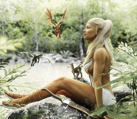 Elegante Elven blonde Frau, die durch einen mythischen Waldteich mit ihren Babydrachen sich entspannt. Fantasy mythische 3D-Rendering