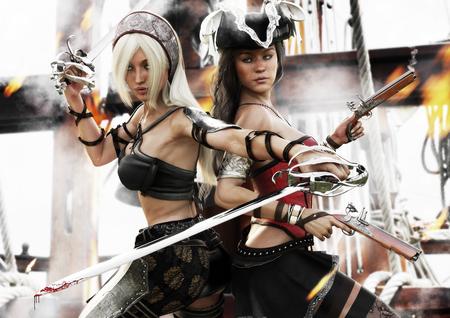 Het laatste verzet. Twee piraatvrouwen die vechten voor de controle van het schip. 3D-rendering