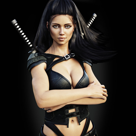 Beautiful ninja female assassin , confident pose on a black background. 3d rendering Banco de Imagens