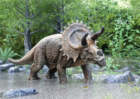 Een dinosaurus van de stegosaurus die in water met houtachtergrond staat. 3D-rendering