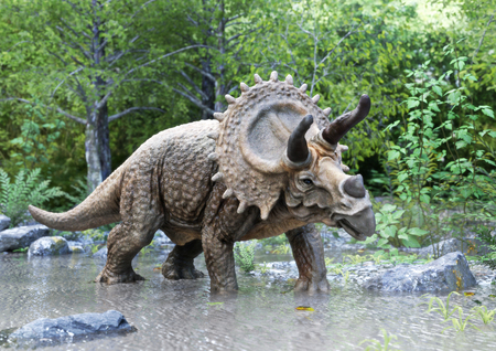 A stegosaurus dinosaur standing in water with woods background. 3d rendering