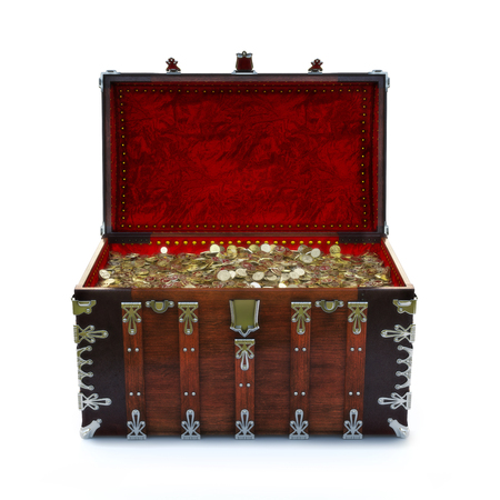 brown: Ornate chest filled with gold coins on an isolated white background. 3d rendering Stock Photo