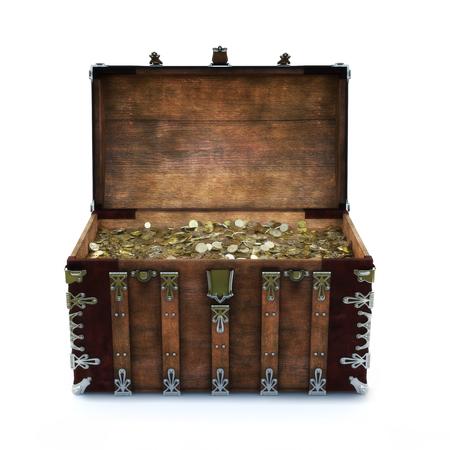Alte Truhe mit Goldmünzen auf einem isolierten weißen Hintergrund gefüllt. 3D-Rendering Lizenzfreie Bilder