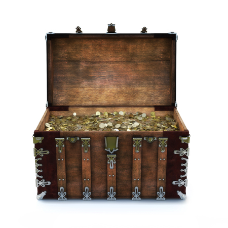 Old chest filled with gold coins on an isolated white background. 3d rendering