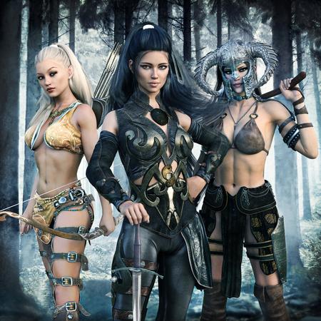 Porträt einer Gruppe von Fantasy-Frauen mit einem epischen Abenteuer. 3D-Rendering Lizenzfreie Bilder