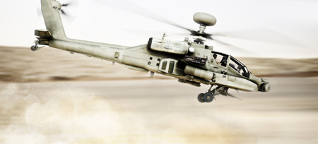 Attack Apache longbow helicopter gunship flying fast and low with dust debris in its wake. 3d rendering Stock Photo