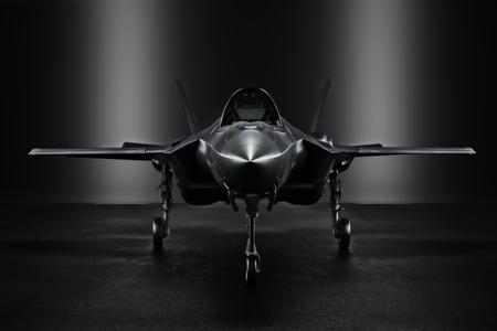 Advanced F35 secret jet in an undisclosed location with silhouette lighting. 3d rendering Foto de archivo