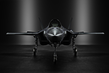 transportation silhouette: Advanced F35 secret jet in an undisclosed location with silhouette lighting. 3d rendering Stock Photo