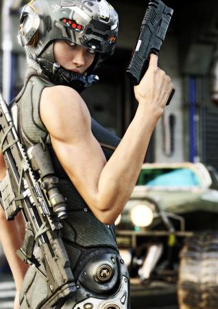 Futuristische Spezialoperation weiblich posiert vor dem Ausgehen auf eine Mission. 3D-Rendering