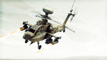 Attack Apache longbow helicopter gunship engaging a target firing its rockets. 3d rendering Stok Fotoğraf - 80106942