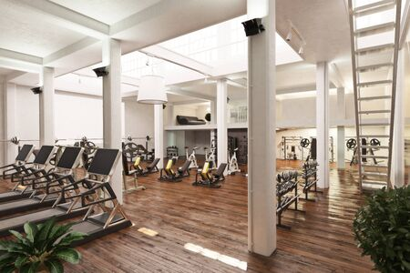 Interior of an upscale cross fit and workout gym . 3d rendering