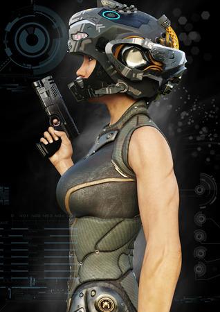 Seitenansicht eines futuristischen weiblichen Kriegers mit digitalen Effektelementen. 3D-Rendering Lizenzfreie Bilder
