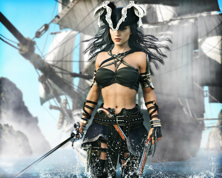 Porträt einer Piratenfrau, die an Land kommt. 3D-Rendering