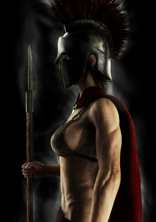 Portrait silhouette of a Greek Spartan female warrior on a black background. 3d rendering. Imagens