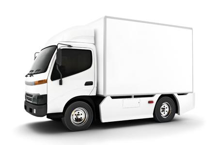 Generischer weißer industrieller Transport-LKW auf einem lokalisierten weißen background.Room für Text oder Kopienraum. 3D-Rendering