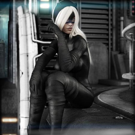 Porträt einer blonden Frau in einer Katze Kostüm sitzt hoch über der Stadt. 3D-Rendering