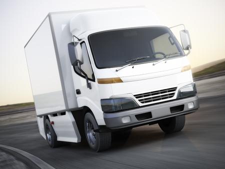 モーションと道を旅行汎用白産業輸送トラックをぼかします。テキストまたはコピー スペースのための部屋。3 d レンダリング