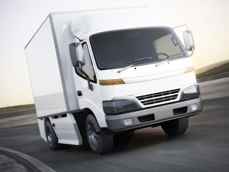 heavy: Generic white industrial transport truck traveling down the road with motion blur. Room for text or copy space. 3d rendering