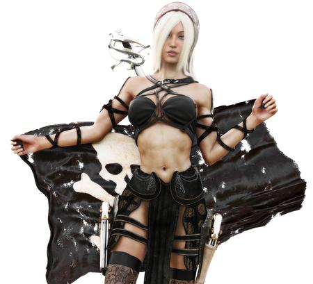Portrait einer blonden Piratenfrau, die eine Piratenflagge anhält. 3D-Rendering
