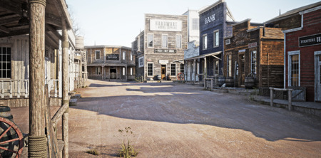 Western town with various businesses . 3d rendering 스톡 콘텐츠