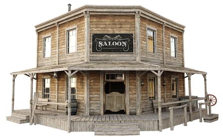 Westelijke stad salon op een geïsoleerde witte achtergrond. 3D-weergave Stockfoto - 82337334