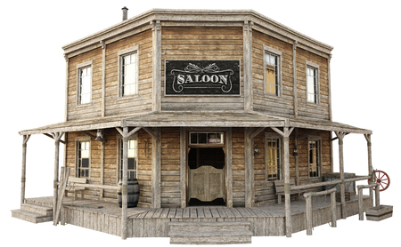 Western town saloon on an isolated white background. 3d rendering Stok Fotoğraf