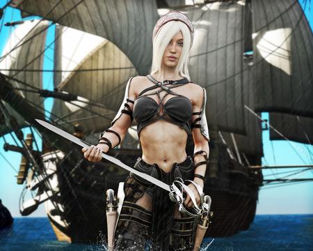 Porträt einer blonden Piratfrau, die an Land mit dem Schwert in der Hand und Piratenschiff im Hintergrund kommt. Leichter atmosphärischer Regen. 3D-Rendering