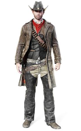 Porträt eines männlichen Cowboys in einem traditionellen westlichen Outfit bereit, seine Waffe zu ziehen. 3D-Rendering auf einem isolierten weißen Hintergrund.