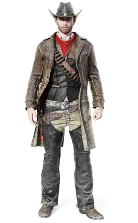 Portrait of a male cowboy in a traditional western outfit prepared to draw his weapon. 3d rendering on an isolated white background.