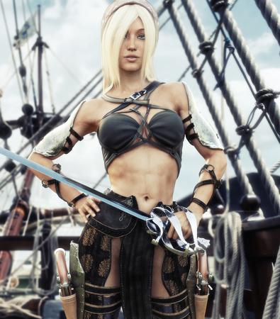 Porträt einer blonden Piratenfrau stand auf dem Deck ihres Schiffes mit Schwert in der Hand. 3D-Rendering