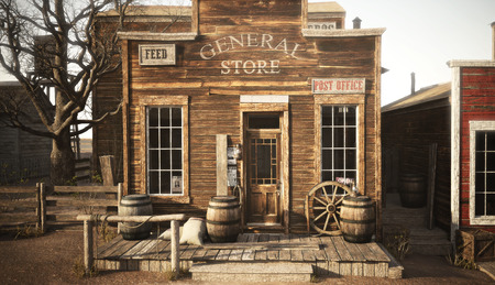 Western town rustic general store. 3d rendering Archivio Fotografico