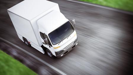 Camion de transport industriel blanc générique qui traverse la route avec un flou de mouvement. Salle pour le texte ou l'espace de copie. Rendu 3D Banque d'images
