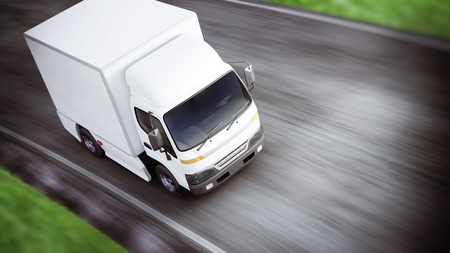 Generic white industrial transport truck traveling down the road with motion blur. Room for text or copy space. 3d rendering