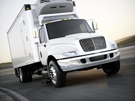 Camión de carga refrigerado genérico que acarrea mercancías abajo del camino con la falta de definición de movimiento. Representación 3D
