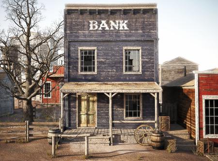 西部の町の素朴な銀行。3 d レンダリング 写真素材