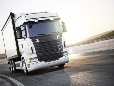 industry: Generic white industrial transport truck traveling down the road with motion blur. Room for copy space. 3d rendering
