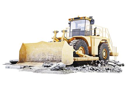 Bulldozer auf einem Gebäude Baustelle mit Schutt. Weiße Hintergrund 3D-Rendering Lizenzfreie Bilder