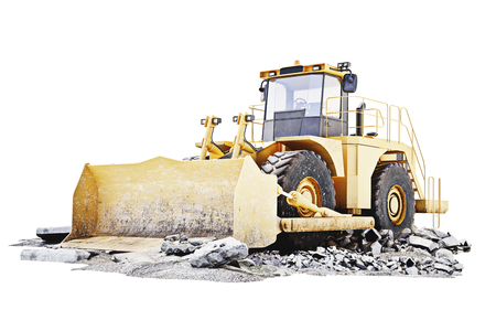 technology: Bulldozer on a building construction site with debris .White background 3d rendering