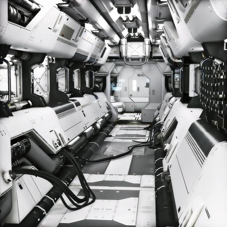 Futuristisches Metall Sci-Fi Korridortunnel oder Schiffsinnenraum. 3D-Rendering-Abbildung. 3d render