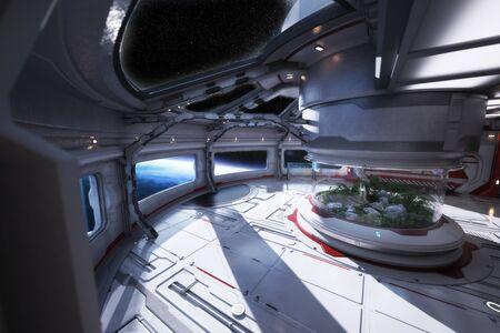 Futuristic space station interior overlooking a planet with a center atrium. 3d rendering Lizenzfreie Bilder