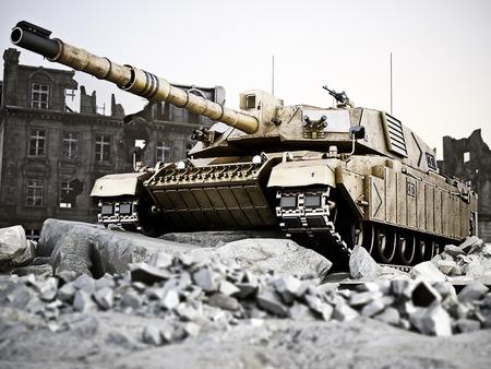 파괴 도시에서 위치에 무거운 탱크 백그라운드에서 유적. 3 차원 렌더링